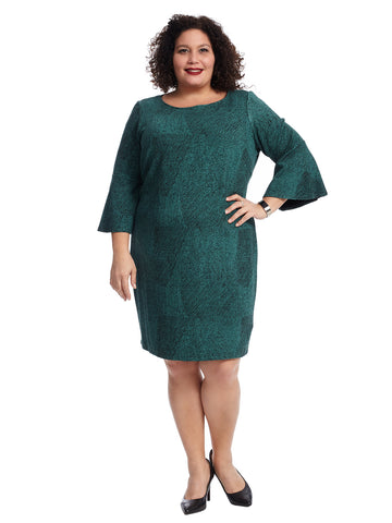 Flare Sleeve Green Shift Dress