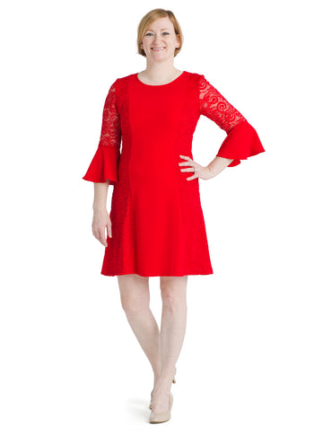 Bell Sleeve And Lace Red Fit and Flare Dress