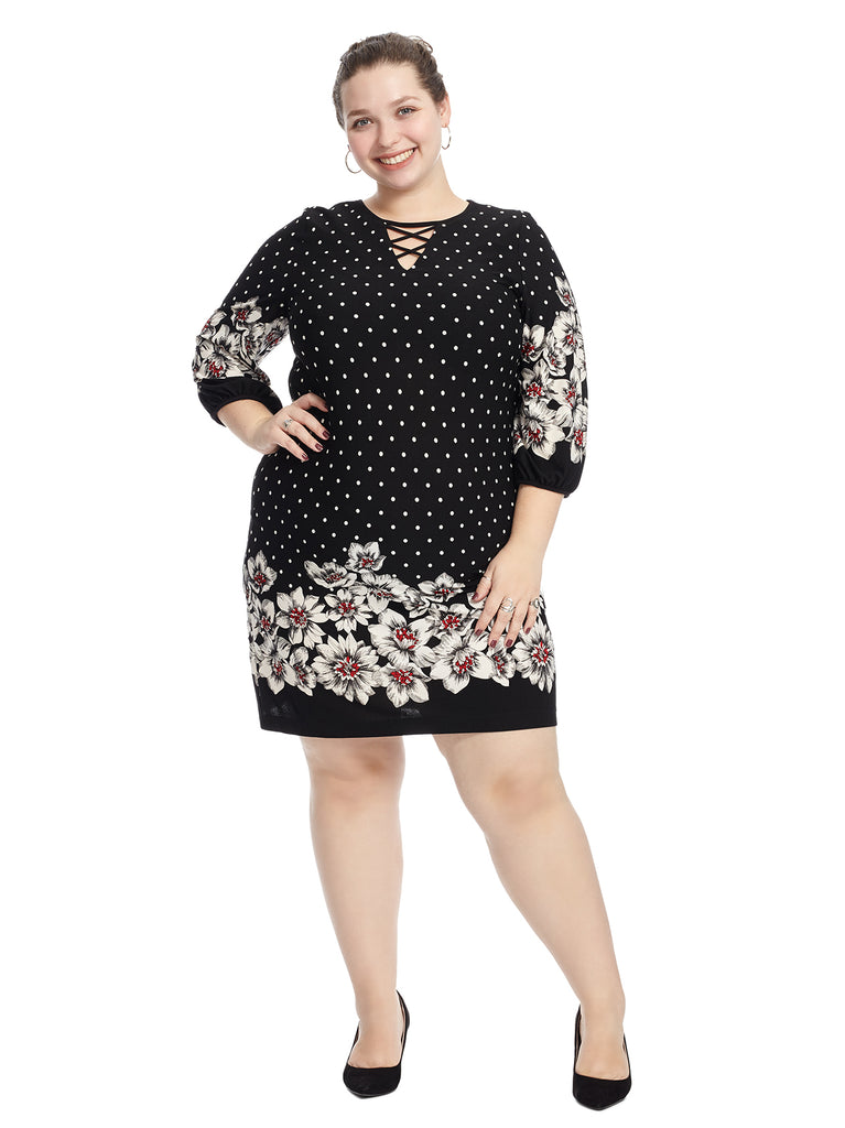 Blouson Sleeve Mixed Print Shift Dress