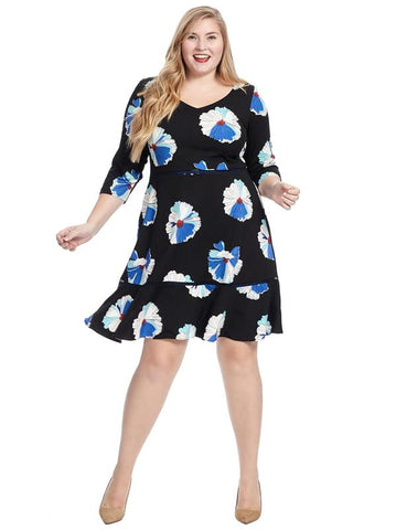 Floral Crepe Flounce Hem Dress