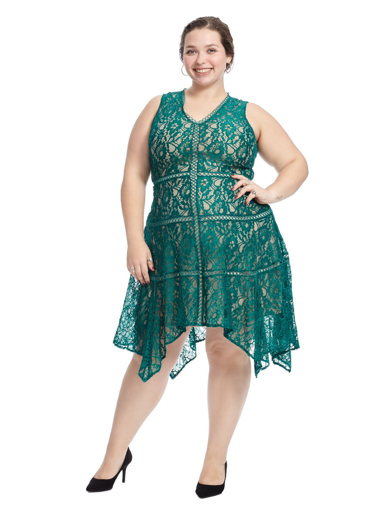 Emerald Green Lace Fit and Flare Dress