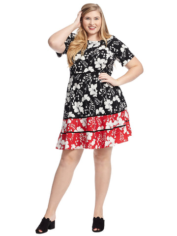 Floral Stretch Crepe Fit and Flare Dress