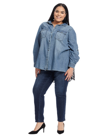 Lace Trim Chambray Shirt