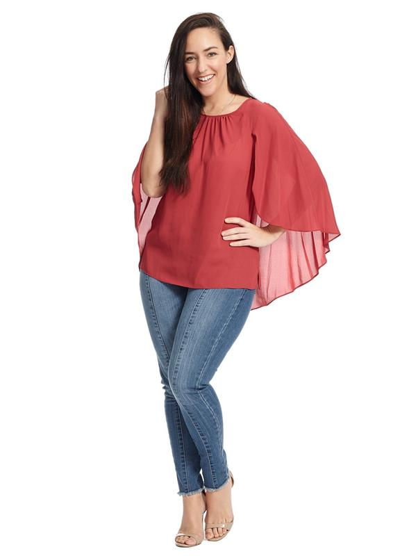 Gathered Crew Neck Cape Blouse