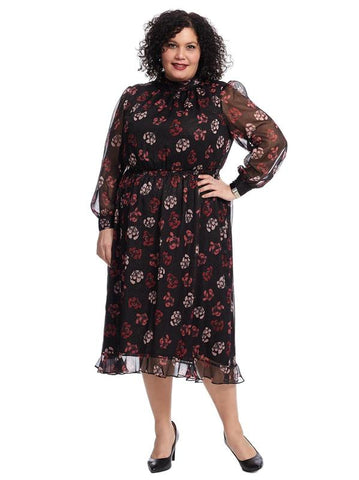 Mockneck Regal Stamp Floral Maxi Dress