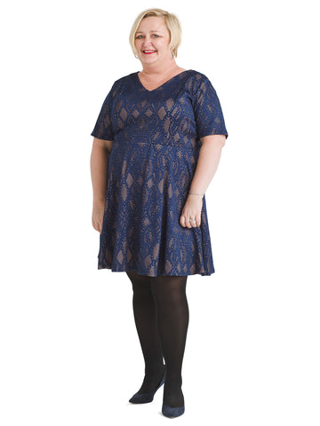 Short Sleeve Navy Lace Fit And Flare Dress