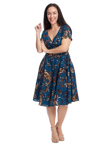 Short Sleeve Blue Floral Fit And Flare Dress