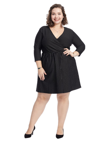Surplice Pinstripe Dress