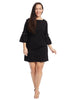 Pearl Detail Black Shift Dress