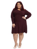 Long Sleeve Burgundy Sweater Dress