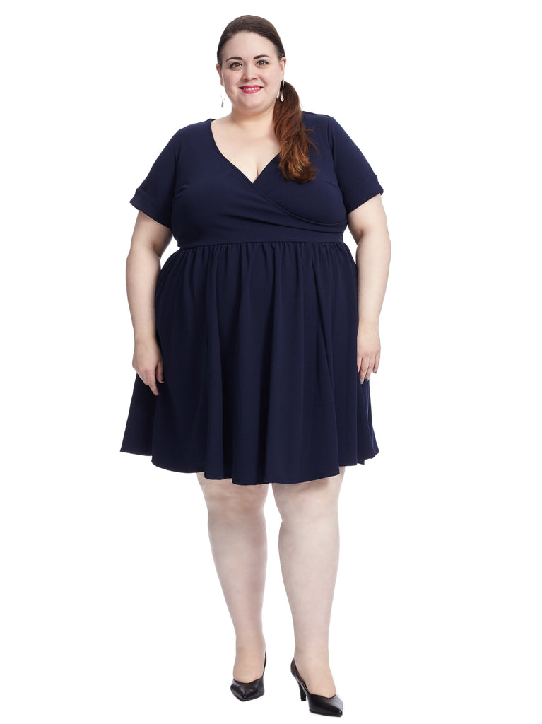 Short Sleeve Navy Surplice Fit And Flare Dress