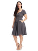 Velvet Dot Grey Fit And Flare Dress