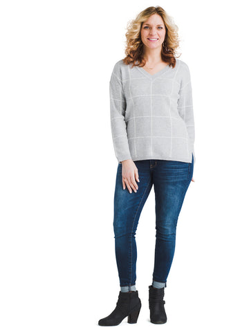 V-Neck Grid Print Tunic Sweater
