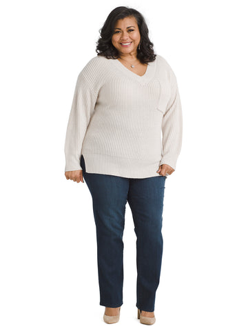 V-Neck Heather Salt Amare Sweater