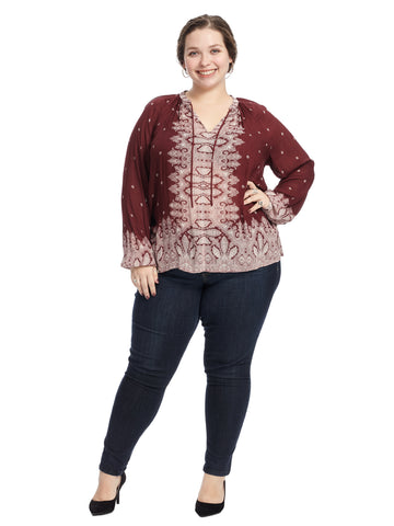 Border Print Burgundy Peasant Top