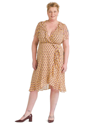 Ruffled Yellow Geo Wrap Dress