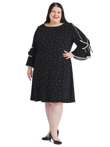 Dot Print Tie Sleeve Crepe Shift Dress