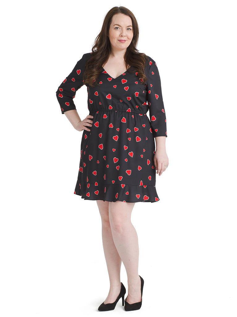 Heart Print Black Dress