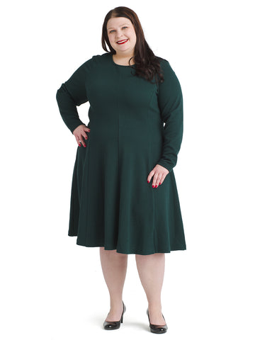 Long Sleeve Evergreen Fit And Flare Dress