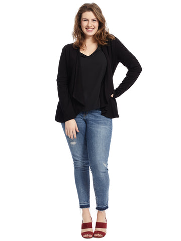 Crossover Back Waterfall Black Cardigan
