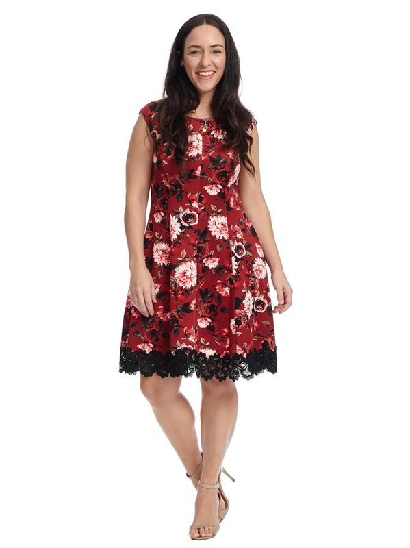 Lace Hem Floral Printed Fit And Flare Dress