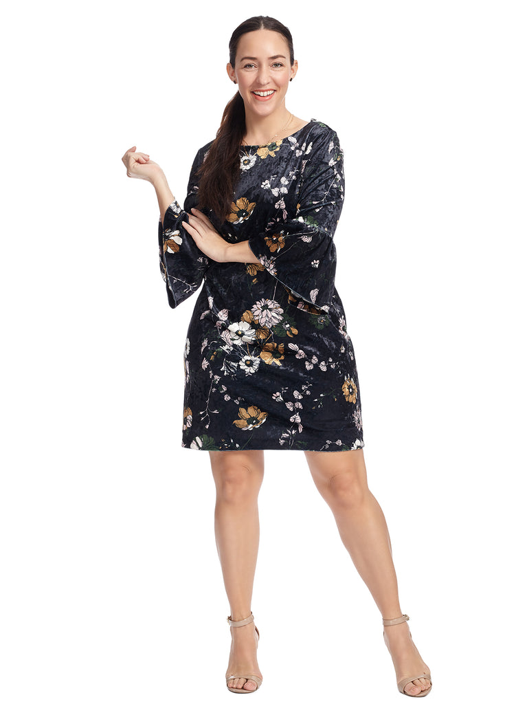 Serene Garden Velvet Shift Dress