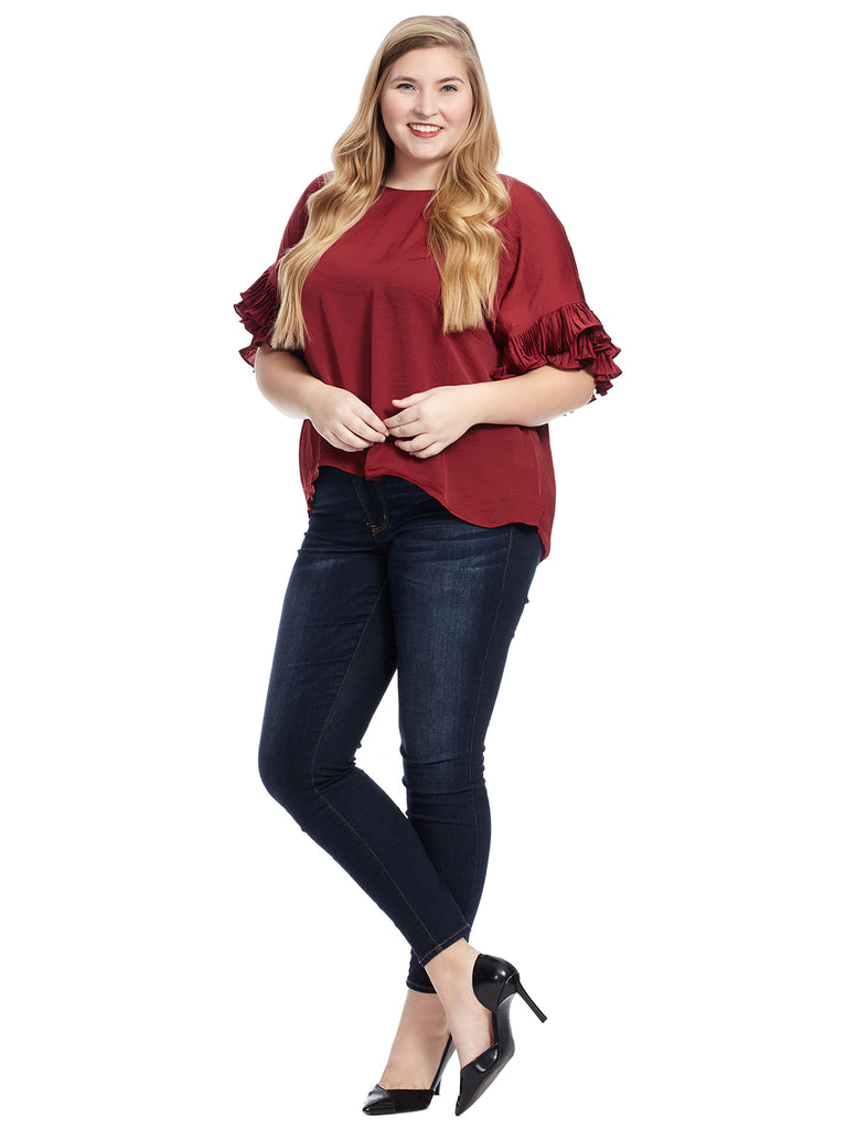 Pleated Sleeve Crushed Satin Grenache Blouse