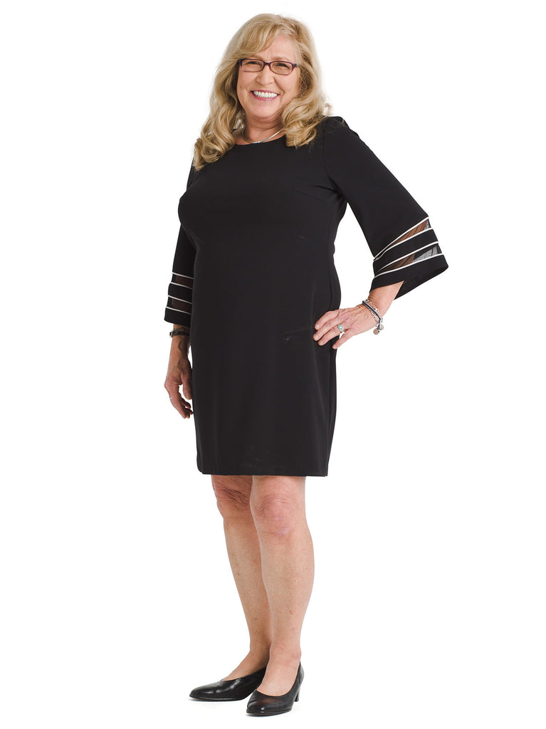 Mesh Stripe Sleeve Shift Dress