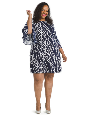 Double Sleeve Pearl Print Dress