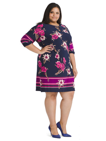Criss Cross Neck Floral Shift Dress