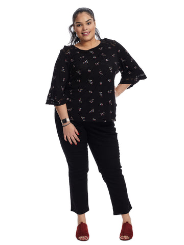 Embroidered Bell Sleeve Black Top