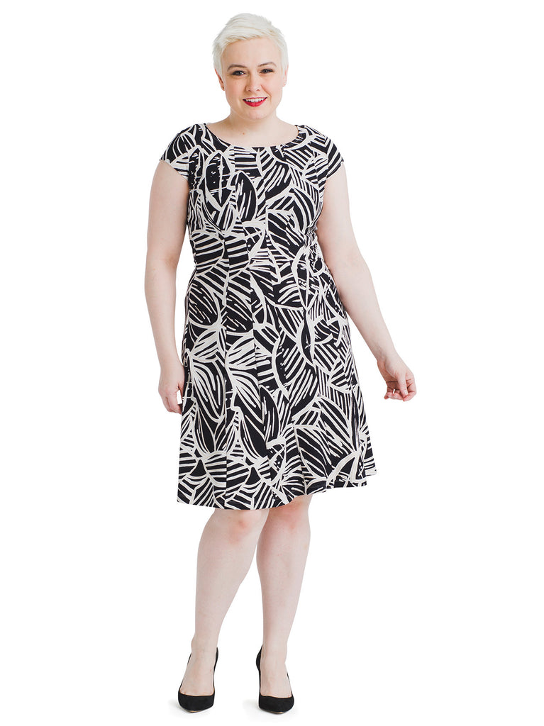 Metallic Leaf Print Fit And Flare Dress