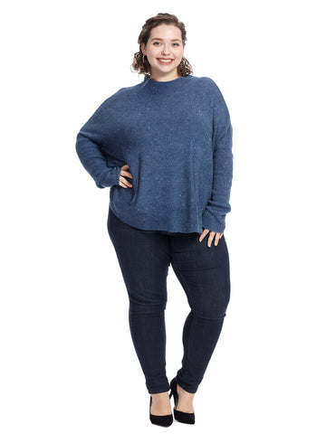 Funnel Neck Denim Blue Sweater