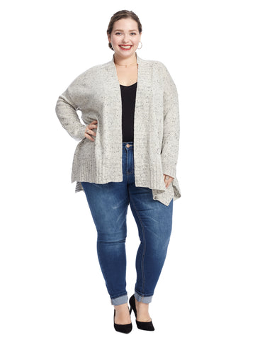 Rib Trim Dove Grey Cardigan