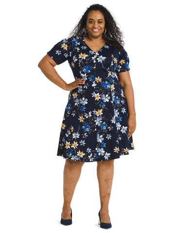 Puff Sleeve Floral Fit And Flare Dress