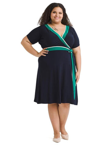Colorblock Jersey Wrap Dress