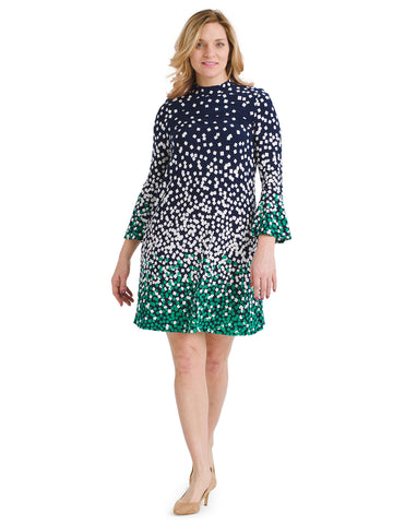 Mockneck Scattered Square Print Dress