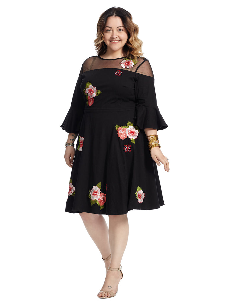 Illusions Floral Fit And Flare Dress