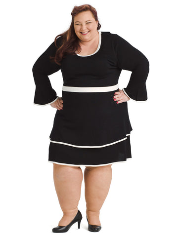Black And White Trim Sweater Dress
