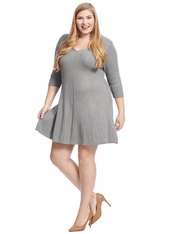 Grey Fit And Flare Sweater Dress