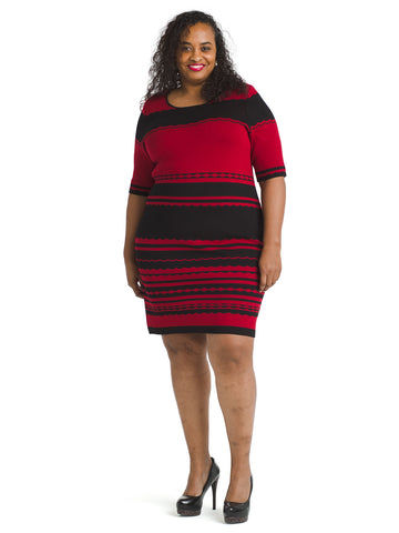 Black And Red Sheath Sweater Dress