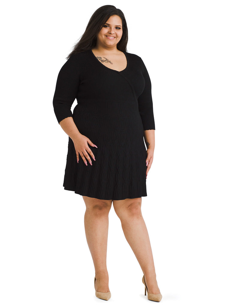 Surplice Black Sweater Dress