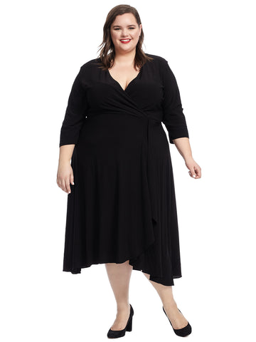 Black Crepe Jersey Faux Wrap Dress