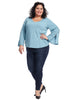 V-Neck Button Bell Sleeve Blue Ballad Top