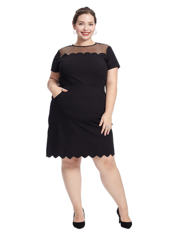 Illusion Black Scallop Dress