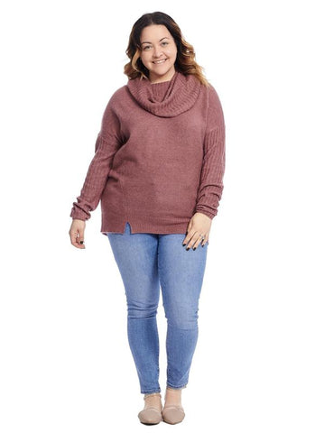 Cowl Neck Rose Mix Sweater