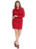 Cowl Neck Red Sweater Dress