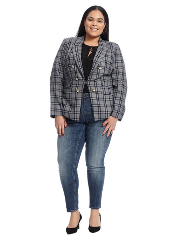 Draper James Double Breasted Plaid Blazer