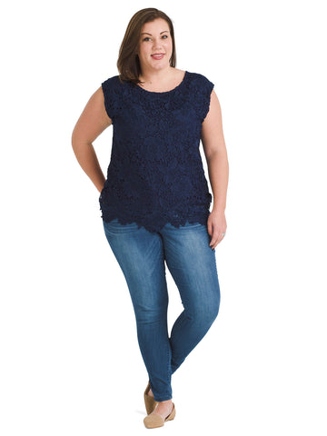 Lace Maritime Blue Top