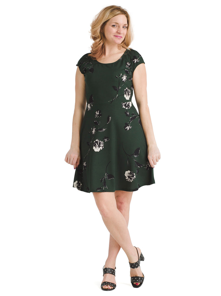 Olive Floral Fit And Flare Dress